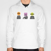 suits Hoodies featuring Three wise Monkey Suits by Simon Greening