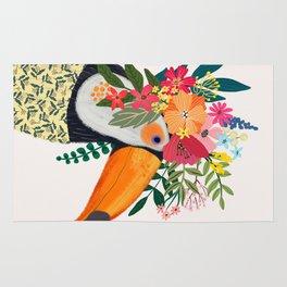 Toucan with flowers on head Rug