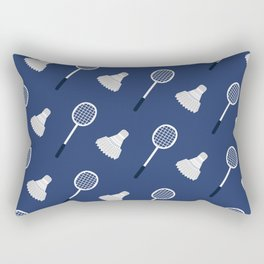 Badminton Blue and White Pattern Rectangular Pillow