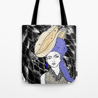 hats Tote Bags featuring Hats by Madame Mim