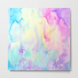 Watercolor Abstract Landscape Blue and Purple Metal Print