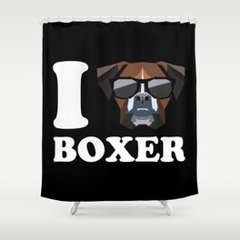 I Love Boxer modern v2 Shower Curtain