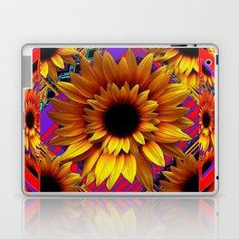 GOLDEN SUNFLOWERS  RED-VIOLET AESTHETIC PATTERN Laptop & iPad Skin