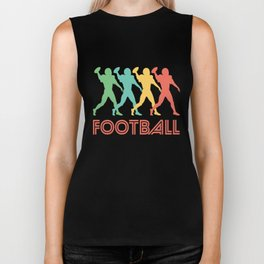 Quarterback Retro Pop Art Football Graphic Biker Tank
