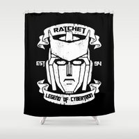 transformer Shower Curtains featuring Legend Of Cybertron - Ratchet by Vitalitee