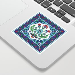 Turkish Tile Pattern – Vintage iznik ceramic with tulips Sticker