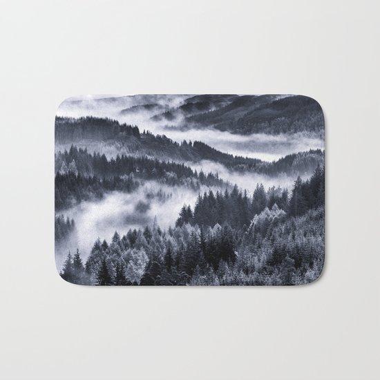 Misty Forest Mountains Bath Mat