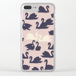Blushing Swans Clear iPhone Case