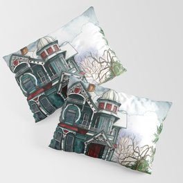 Blue House on a Grey Day Pillow Sham