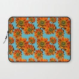 Orange Sunflower Pattern Laptop Sleeve