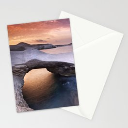 Sarakiniko rocky beach at sunset time in Milos island Greece. Stationery Cards