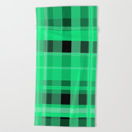 Shades of Green and Black Plaid Beach Towel
