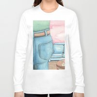 sofa Long Sleeve T-shirts featuring Butt and Sofa by David Domike