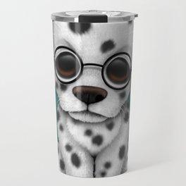 Dalmatian Puppy Wearing Reading Glasses on Blue Travel Mug