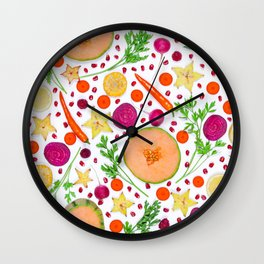 Fruits and vegetables pattern (19) Wall Clock