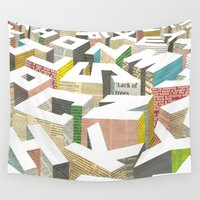 newspaper Wall Tapestries featuring The Capital by I Love Doodle