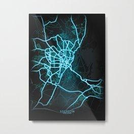 Szczecin, Poland, Blue, White, Neon, Glow, City, Map Metal Print
