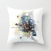 big bang Throw Pillows featuring Big Bang by Travis Clarke