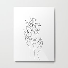 Dame fleur-Floral Illustration, Woman Wall Art Peony Art Metal Print