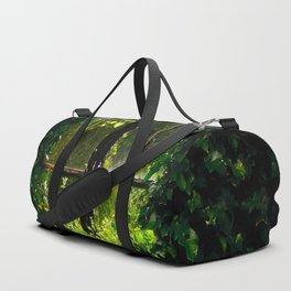 Green idyllic overgrown cottage garden window Duffle Bag