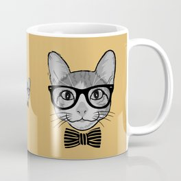 Cat Hipster with Stripes Bow Tie Coffee Mug