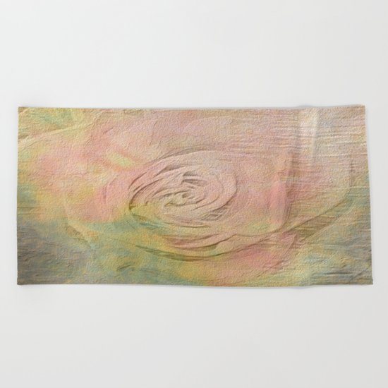 Timeless Vintage Pressed Pastel Rose Beach Towel