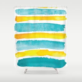 Watercolor yellow and turquoise stripes Shower Curtain