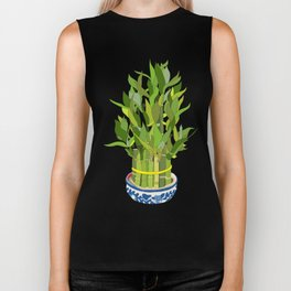 Lucky Bamboo in Porcelain Bowl Biker Tank