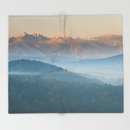 The mountains are calling #sunset Throw Blanket