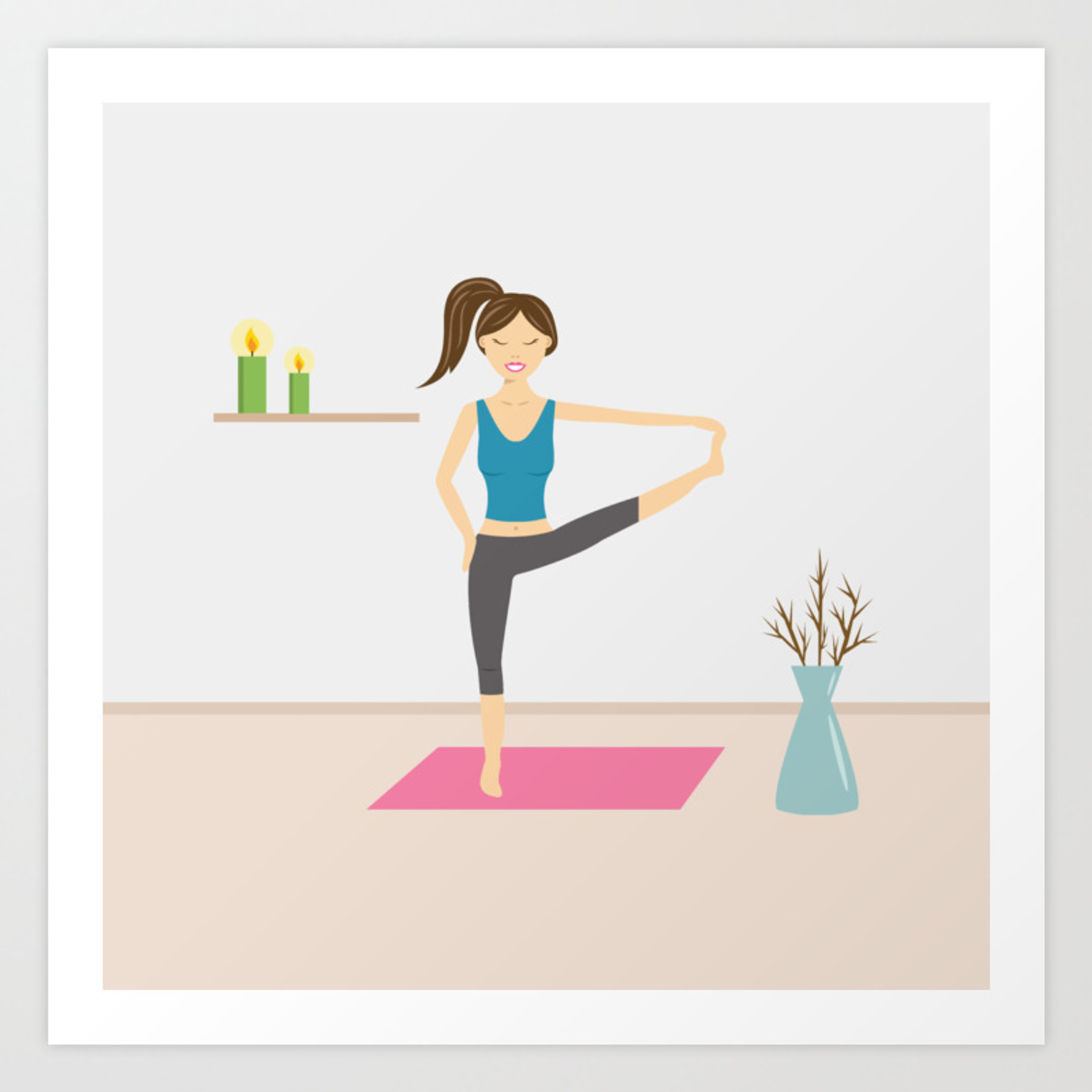 Yoga Girl In Extended Hand To Toe Pose Cartoon Illustration Art Print By Destei Society6
