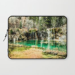 Natures Eternal Beauty // Long Exposure Waterfall and Teal Water Pond in the High Forest Laptop Sleeve