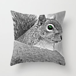 Green Eye Squirrel Throw Pillow