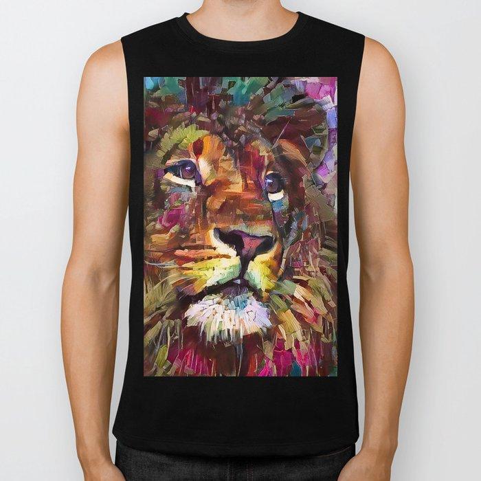 Colorful Lion Painting 2018 Biker Tank