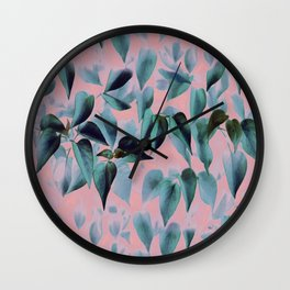 Tropical Foliage on Pink Wall Clock