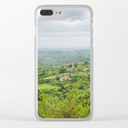 Beautiful spring froggy landscape in Tuscany countryside, Italy Clear iPhone Case