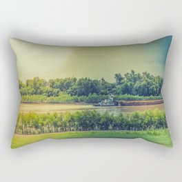 Barge on the Mississippi River Rectangular Pillow