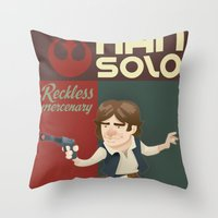 han solo Throw Pillows featuring Han Solo by Alex Santaló