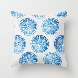 Blue Citrus Throw Pillow
