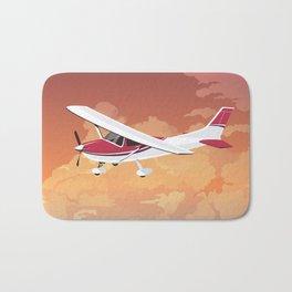 Cessna Flying Through Clouds Bath Mat