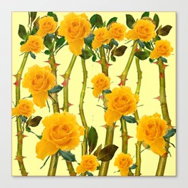 GOLDEN ROSES & THORNY CANES ON  YELLOW Canvas Print