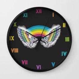 Geometric Double Rainbow Unicorns with Wings Wall Clock