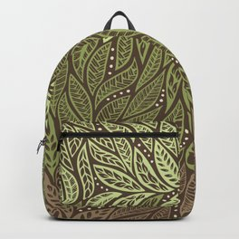 Polynesian Tribal Tattoo Shades Of Green Floral Design Backpack