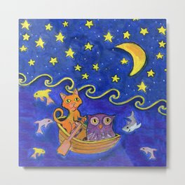 Owl and Pussycat rowed at night Metal Print
