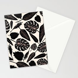 Monstera pattern in black and pastel Stationery Cards
