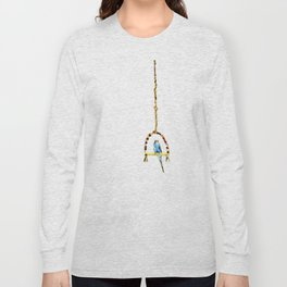 Parakeet Budgie on swing Long Sleeve T-shirt