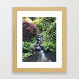 Kubota Garden rock water stream Framed Art Print