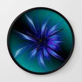 fractal elegance - blue and turquoise Wall Clock