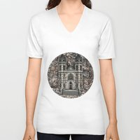 castle V-neck T-shirts featuring Castle by Design Windmill