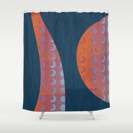 Digital Blue Denim and Glowing Orange Moon and Star Shower Curtain