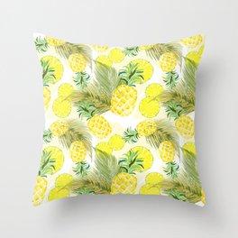 Pineapple Watercolor Fresh Summer Fruit Throw Pillow